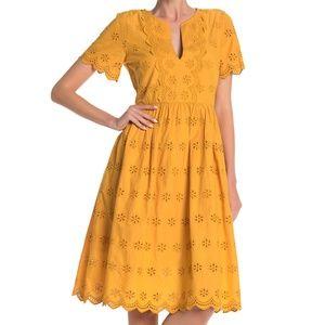 Madewell NWT Marigold Scalloped Eyelet Midi Dress